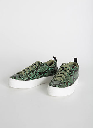 Hiss Goodbye Snake Print Sneakers