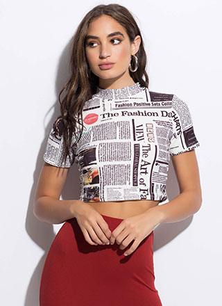 In Fashion News Text Print Crop Top