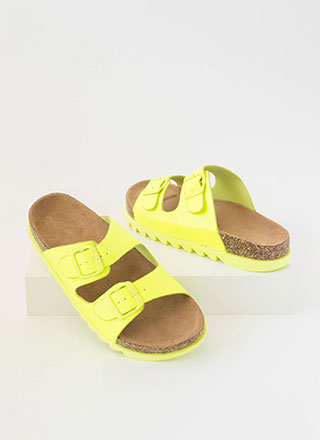 Jagged Edge Buckled Slide Sandals