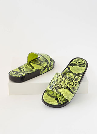 Hiss And Tell Snake Print Slide Sandals