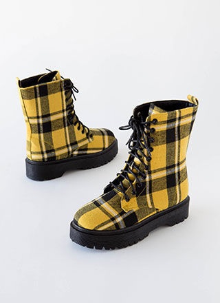 Grunge Movement Plaid Combat Boots