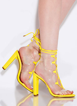 Clear Out Chunky Lace-Up Illusion Heels