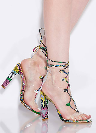 Clear Out Chunky Lace-Up Snake Heels