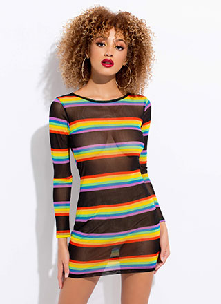 Happy Rainbow Striped Mesh Minidress