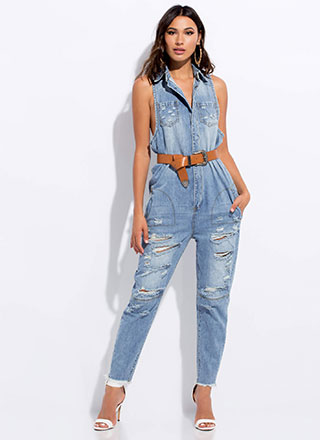 Cool-Girl Distressed Denim Jumpsuit