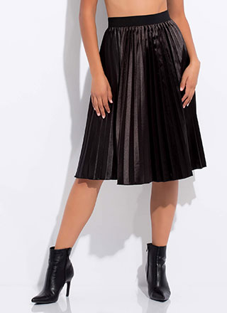 Pleated Perfection Satin Midi Skirt