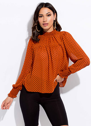 Just Spotted Flared Polka Dot Blouse
