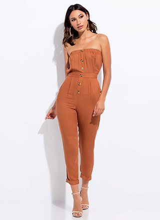 Easy Breezy Strapless Tied Jumpsuit