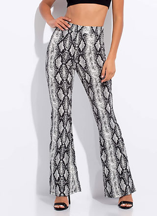 Now You Gotta Hiss Me Flared Snake Pants