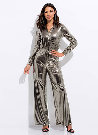 Shine Metallic Wide-Leg Jumpsuit