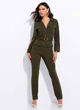 In Charge Belted Button-Up Jumpsuit