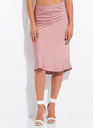 Add A Little Flare Silky Midi Skirt
