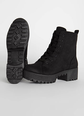 Hard At Work Lug Sole Platform Boots