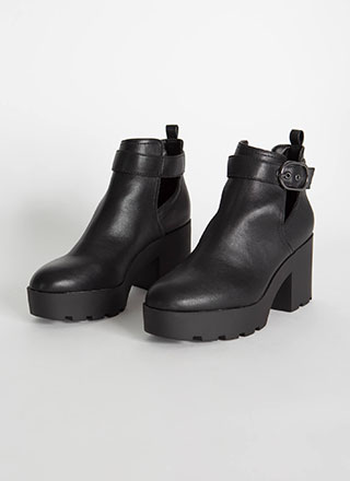 Strap In Faux Leather Block Heel Booties