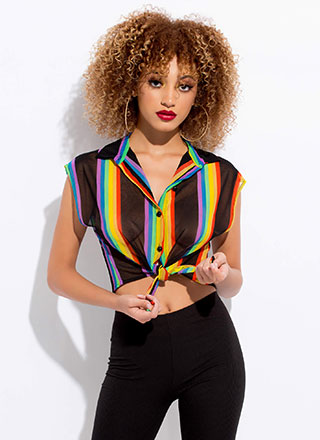 Happy Rainbow Knotted Stripe Mesh Blouse