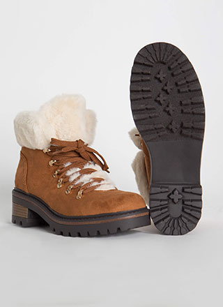 Fur The Cold Faux Suede Lug Boots