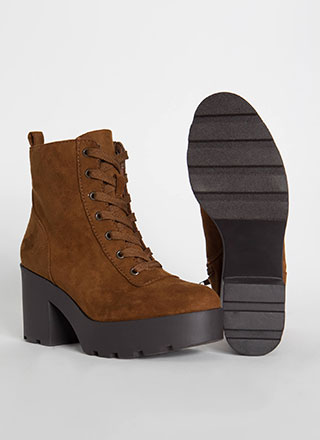 Bestie Lace-Up Block Heel Booties
