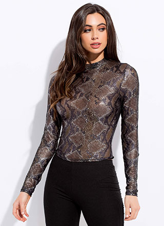 Second Snakeskin Metallic Mesh Top