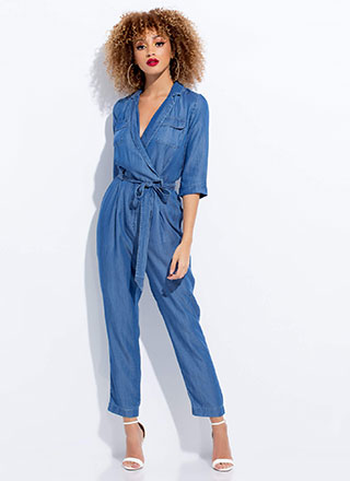 Ease Up Belted Chambray Jumpsuit