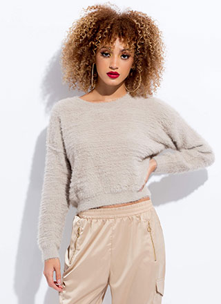 Soft Voice Fuzzy Furry Knit Sweater