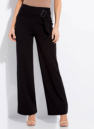 European Vacation Belted Wide-Leg Pants