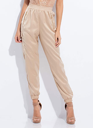 Let's Lounge Satin Cargo Joggers