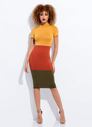One Two Three Colorblock Midi Dress