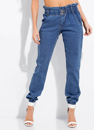Cool-Girl Paper-Bag Waist Jean Joggers