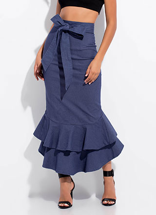 Trumpets Ruffled Denim Maxi Skirt