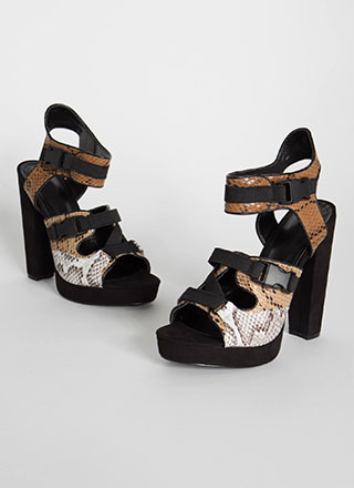 Animal Instincts Buckled Cut-Out Heels