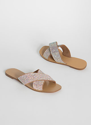 X Appeal Rhinestone Slide Sandals