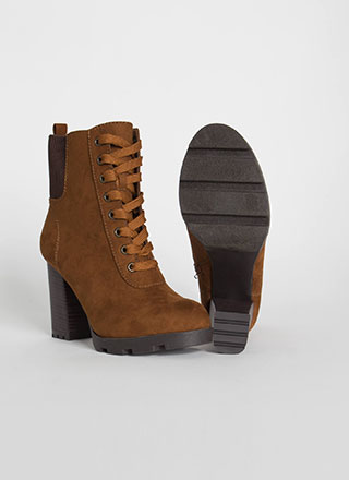 Happy Trails Chunky Faux Suede Booties