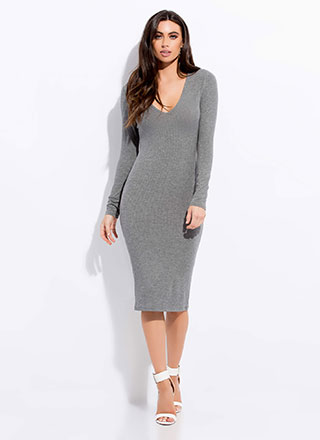 Solid Contender Rib Knit Midi Dress