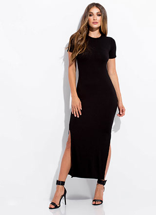My Fave Ribbed Double Slit Maxi Dress
