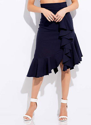 Set Into Motion Ruffled Midi Skirt