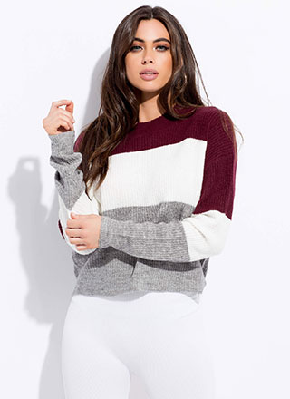 Tri Harder Knit Colorblock Sweater