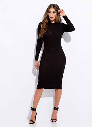 No-Brainer Rib Knit Midi Dress