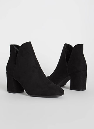Tulip Chunky Faux Suede Booties