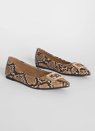 Buckle My Faux Snake Pointy Flats