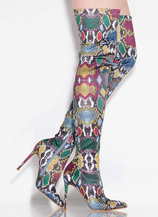 Colorful Creature Thigh-High Snake Boots