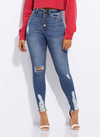 Button-Fly Girl Distressed Skinny Jeans