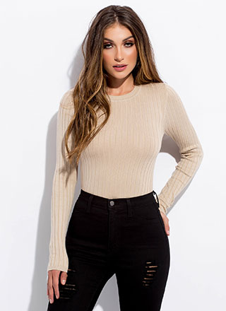 Keep It Basic Long-Sleeved Rib Knit Top