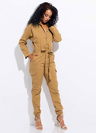 Cute Cargo Tied Utility Jumpsuit