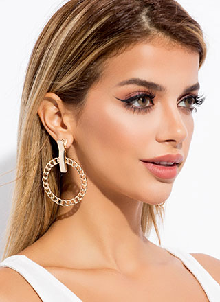 Clip Service Chain Hoop Earrings
