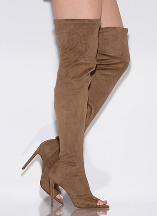 Toe Touch Peep-Toe Thigh-High Boots