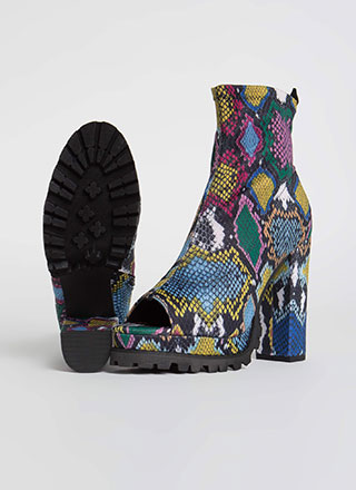 Snake In Love Chunky Peep-Toe Booties