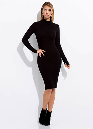 The Basics Ribbed Turtleneck Midi Dress