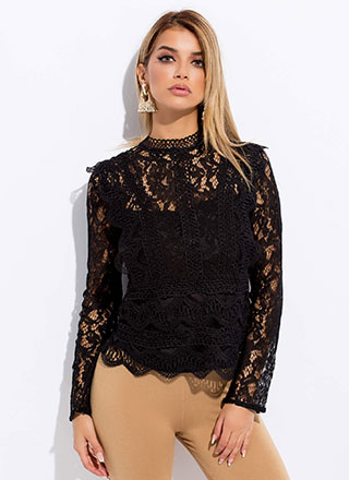 Fall Into Lace Crochet Trim Blouse