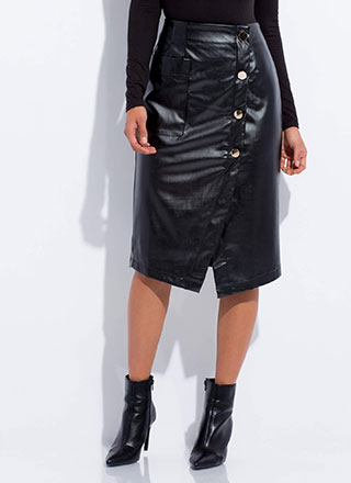 All Wrapped Up Faux Leather Midi Skirt