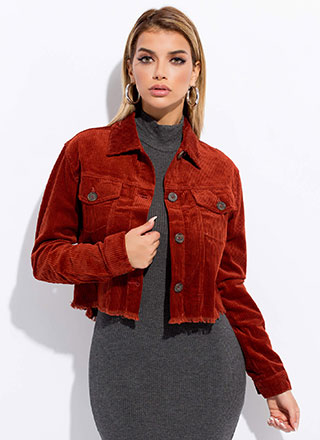 Make The Cut-Off Fringed Corduroy Jacket